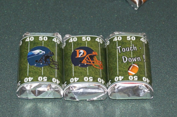 Football Miniatures, Football party favors, Football chocolate, Super Bowl personalized wrappers, Super bowl party, Set of 50.