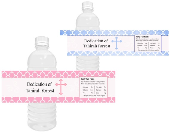 Baby Dedication water bottle labels, Baby Baptism water bottle labels, pink and white baby shower, Two sizes available, See listing descript