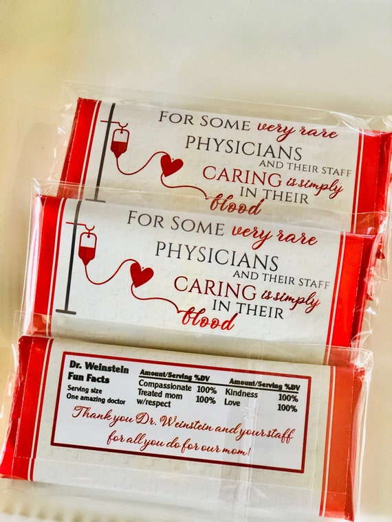 Set of 20. Fully Assembled Doctor and staff Chocolate Bars, Medical staff appreciation chocolate bars, Physician's Week Chocolate Bars.