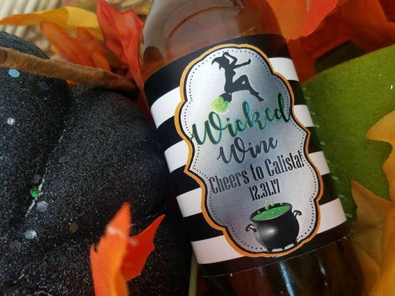 Halloween Mini Wine Bottle Labels, Wicked Witch Mini Wine Bottle Label,Wicked Wine Wine Bottle Labels,Halloween Wicked Wine labels. Set of 9