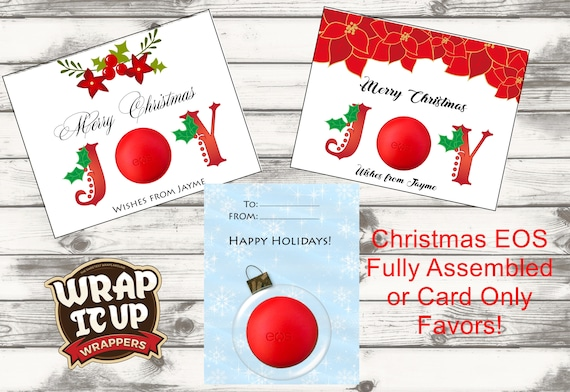 EOS Lip Balm Holiday Favors,Lip Balm Christmas Favors,Lip Balm Stocking Stuffers,Lip Balm Cards.Fully Assembled or Card Only.Sets of 5
