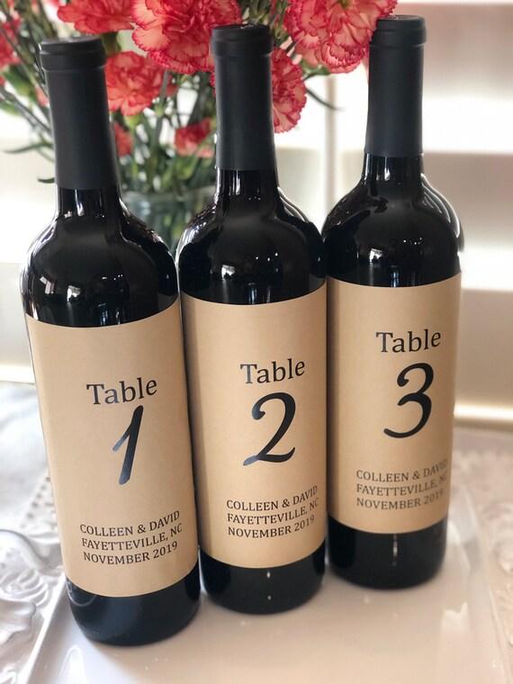 Wedding Wine Bottle Kraft Labels, Table Numbers Kraft Labels, Wedding Table Numbers Labels, wine Bottle Wedding Numbers. Set of 4, 6, 8, 10
