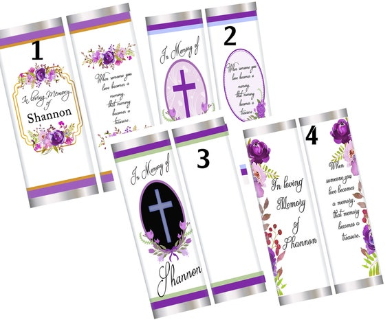 In Loving Memory Chocolate Bar Favors,  Funeral Favors, Funeral personalized chocolate bar wrappers, Funeral reception favors. Set of 20