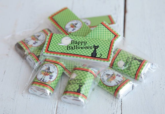 Halloween party favors, Halloween gift sets, Happy Halloween party, Halloween chocolate bag topper, Chocolate with bag topper set. Set of 10