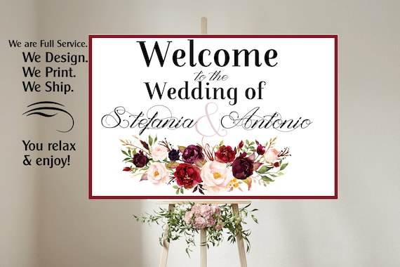 4 sizes available  Welcome to our wedding poster,Welcome to our Forever Sign,Welcome to our wedding sign, Burgundy Wedding Sign.