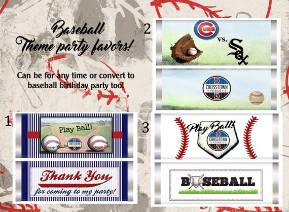 Baseball party theme chocolate bar and wrappers, Play ball party, baseball party favors, Baseball theme party.  Set of 20.