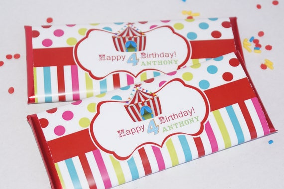 Circus Theme Party, Circus Birthday Party, Circus Chocolate Bar Wrapper, Carnival Theme Party, Carnival Birthday.  Set of 20.