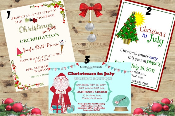 christmas in july holiday invitations christmas in july etsy