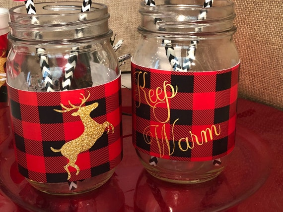 Mason Jar Lumberjack label, Lumberjack Mason Jar Label, Mason Jar Holiday Wrappers, Buffalo Plaid Holiday Mason Jar Wraps. Sold sets of 10.