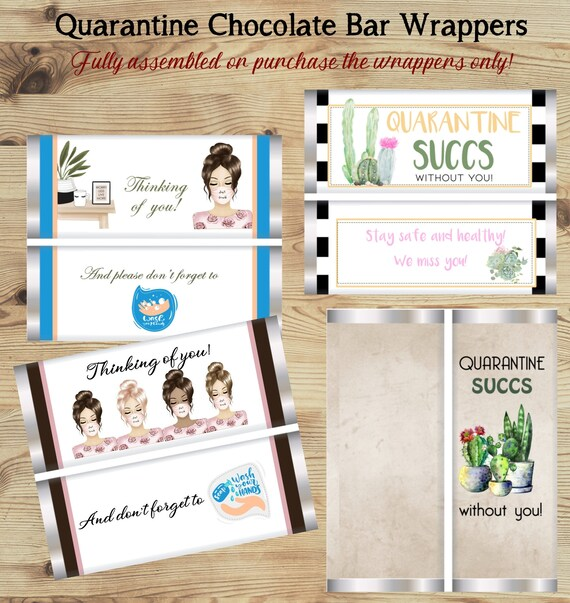 Set of 20. Fully Assembled or Wrapper Only Quarantine Chocolate Wrappers, Quarantine SUCCS Chocolate Bars, Quarantine Theme Favors.