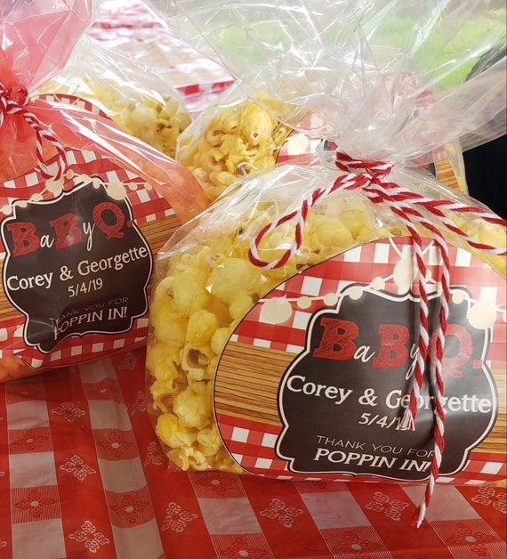 Baby Q Baby Shower,Red Gingham Baby Shower,Picnic Baby Shower, BBQ Popcorn labels,Baby Q Popcorn Labels. Vary Sizes & Price.See Listing Desc