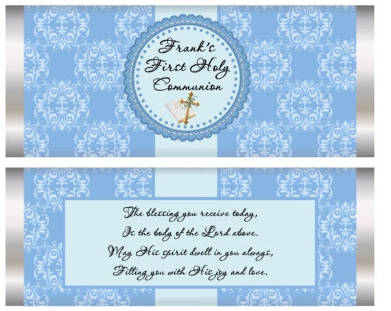 FULLY ASMBLD. Boys First Holy Communion, Holy Communion favors, Communion chocolate bars, Communion Personalized Chocolate Bars. Set of 20.