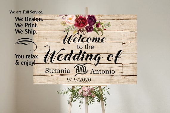 4 sizes available  Wood Faux Welcome to our wedding poster,Welcome to our Forever Sign,Welcome to our wedding sign, Burgundy Wedding Sign.
