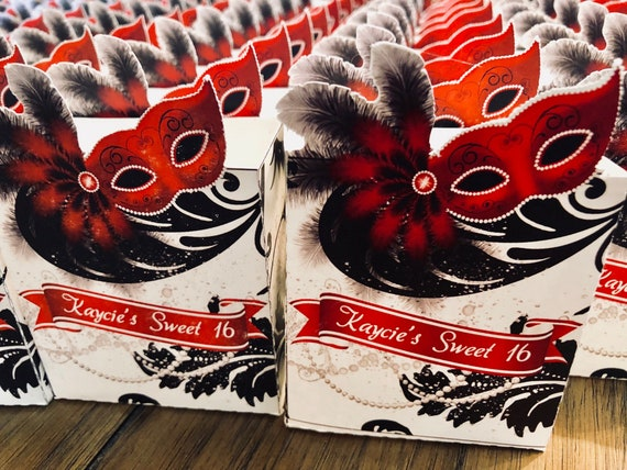 Mardi Gras party,Masquerade Party Favors,Mardi Gras Party boxes,Masquerade Red Box Favor, costume halloween party,Red Mask gifts,Sets of 10