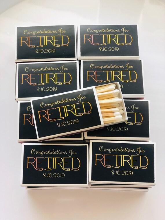 Match Box Favors,Retirement Match Box,  Retirement Gatsby Party, Retirement Roaring 20s party Retirement Match Box Favors. Set of 50.