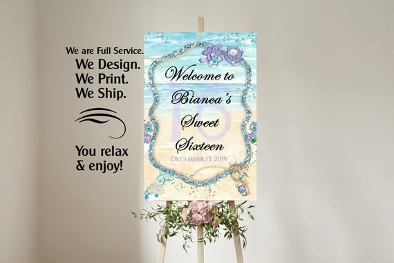 4 sizes available. Under The Sea Birthday Theme Poster, Mermaid Party Theme Poster, Aqua and Lavender Party Theme Poster.