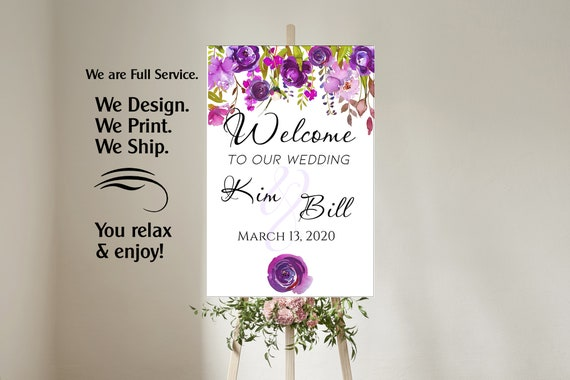 4 sizes available  Purple and Lavender Welcome to our wedding poster,Welcome to our Forever Sign,Welcome to our wedding sign, Purple Wedding