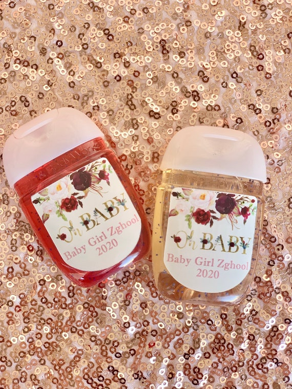 Labels Only. Oh Baby Hand Sanitizer Labels, Oh Baby Shower labels, Gold and Floral shower labels. Qty varies. Read Description.
