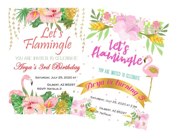 3rd Birthday Flamingle Invitations, Let's Flamingle Invitations, Girl Tropical Invitation, Flamingo Shower Invitations.Set of 24