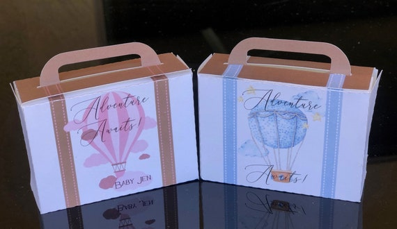 Adventure Awaits Favor Boxes, Adventure Awaits Hot Air Balloon Boxes, Baby Shower Suitcase Favor Box, Up Up In the Air Baby Theme.Set of 10.