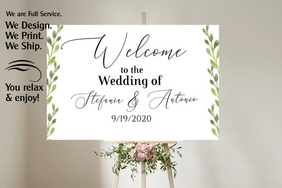 4 sizes available  Greenery Welcome to our wedding poster,Welcome to our Forever Sign,Welcome to our wedding sign, Greenery Succulent poster