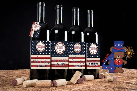 4th of July Wine Labels, July 4th wine labels, Patriotic wine labels, Americana Wine Labels, . Set of 4