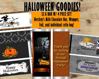 Halloween Candy Bar Wrappers,Dracula,  Friendly Ghosts, Pumpkin Halloween Party,Children Halloween Candy Bar Wrappers, Set of 20.