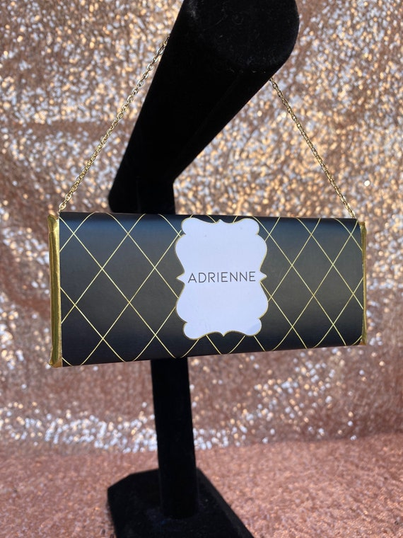 WRAPPER ONLY. Black and Gold Chocolate Clutch Purse, Diamond Shape Black and Gold Chocolate Clutch Purse.Set of 20.