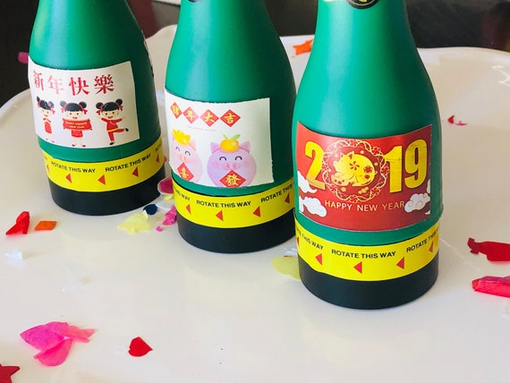 Champagne Confetti Poppers, Chinese New Year Confetti Poppers, Personalized Confetti Poppers, Chinese New Year Party Poppers. Set of 6