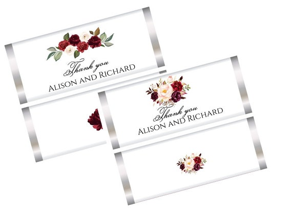 FULLY ASSEMBLED. Burgundy Floral Chocolate Bar Wrappers,Burgundy Floral Wedding Favors,Burgundy Theme Chocolate Wrappers.Set of 20