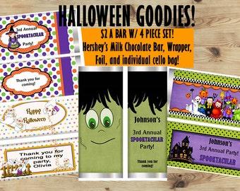 Halloween Candy Bar Wrappers, Frankenstein Candy Bar Wrappers, Friendly Ghosts, Children Halloween Candy Bar Wrappers, Set of 20.