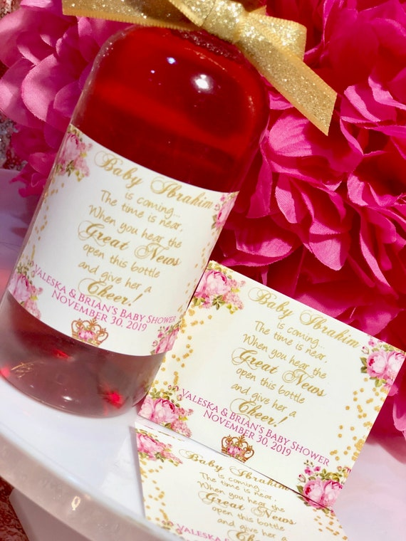 Pink and Gold Peonies, Gold and Pink Mini Wine Bottle Labels, Pink and Gold Party Theme, Baby Shower Pink Peonies Labels. Set of 9