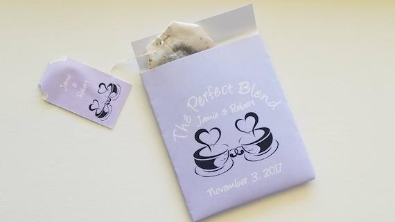 Personalized Tea bag Holder, Wedding tea Bag Holder, The Perfect Blend Tea Bag Holders. Tea party or wedding favors gifts. Set of 30.