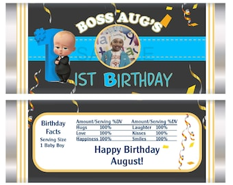 Boss Baby Chocolate Bar, Boss Baby Party, Boss Baby 1st birthday party favors, Set of 20.