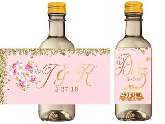 Pink and gold mini wine bottle labels, PInk glitter liquor bottle labels, Pink and Gold Glitter wedding labels. . Set of 9.