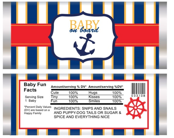 WRAPPER ONLY. Baby on Board Chocolate Bar Wrappers, Nautical Blue and Red Baby shower, It's a Boy blue and red wrappers. Set of 20.