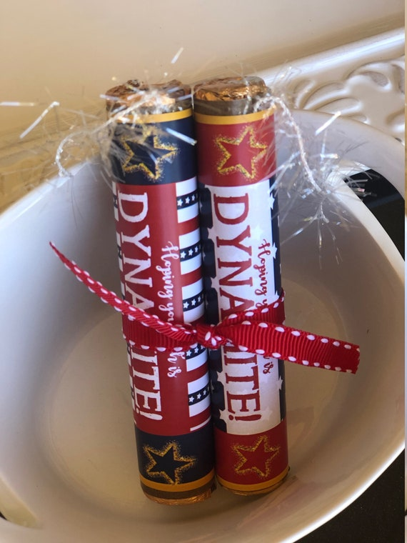 Dynamite Chocolate Rolo Set, July 4th Party Favors, Dynamite Independence Day, 4th of July. Patriotic Chocolate Favots. Set of 24