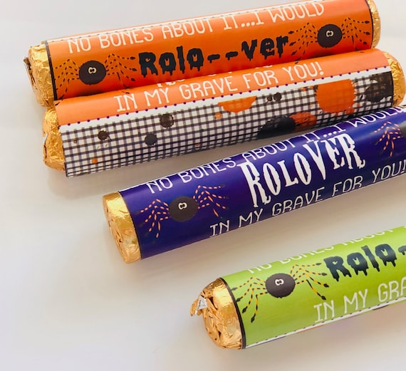 FULLY ASSEMBLED.Halloween Rol-Over party favors, ROLO-over chocolate party favors, Rol-over chocolate party favors.. Set of 24
