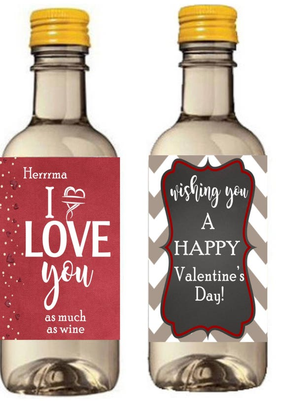 Valentine's Day Mini Wine Bottle Labels, All you Need Is Love, Happy Valentine's Day Wine Labels.  Set of 9