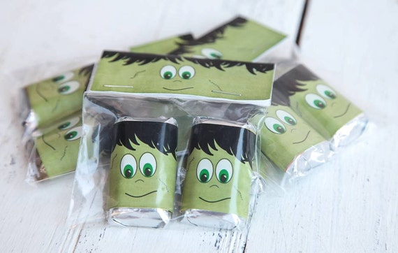 Halloween party favors, Halloween gift sets, Frankenstein set, Frankenstein party favor,Halloween bag topper.  Set of 10.