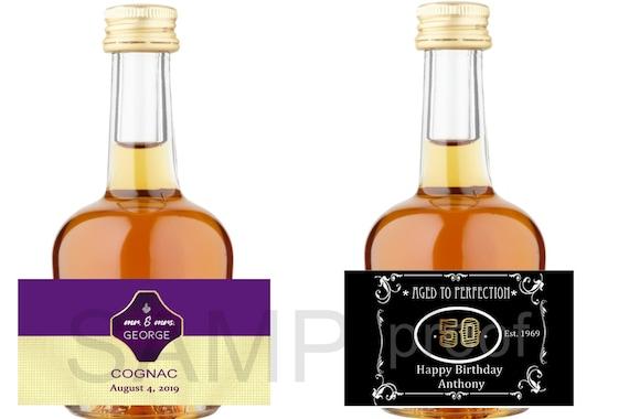 Mini cognac liquor bottle labels, Mini cognac bottle labels,  Mini Bottle Labels, Birthday Party Mini Bottle labels. Set of 12