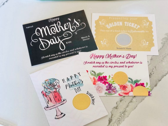 Happy Mother's Day Scratch Cards,Mother's Day Scratch Off Cards,Mother's Day Scratch off Gift, Mother's Day Creative Gift.
