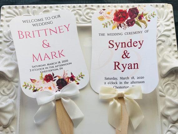 Fully Assembled Wedding Fans, Burgundy Hand Fans, Personalized Fans, Paddle Fans, Wedding Fans Favors, Wedding Favors, Burgundy. Set of 25