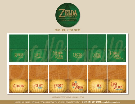 Zelda Party Labels