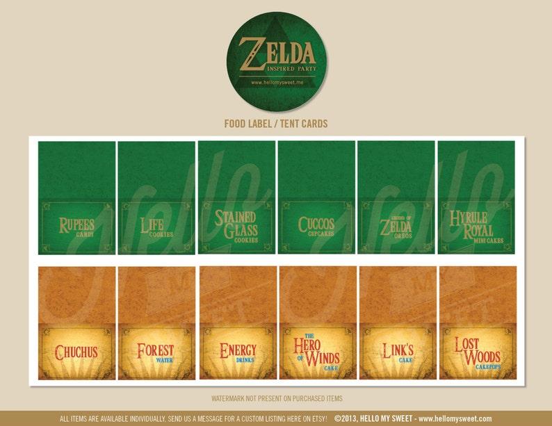 Zelda Party Labels INSTANT DOWNLOAD Birthday Decorations