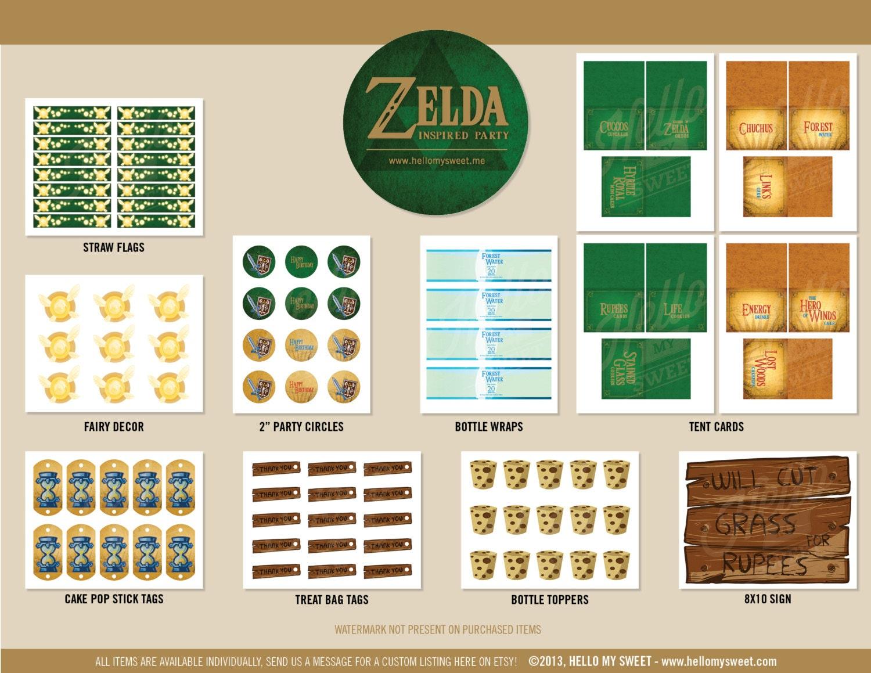 Zelda Party Set INSTANT DOWNLOAD Zelda Birthday Party