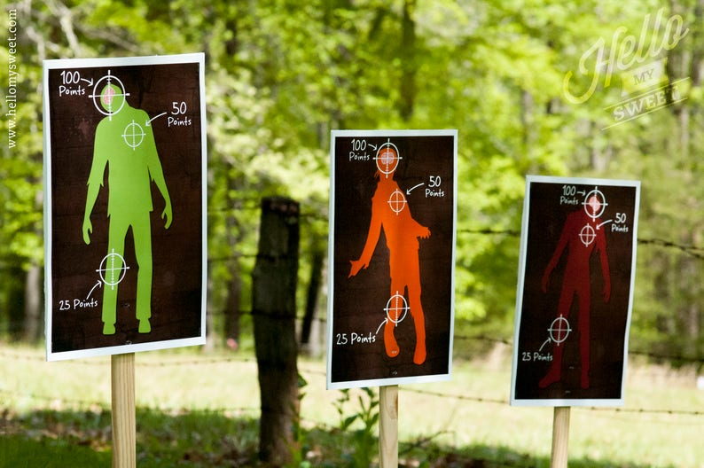 picture regarding Printable Shooting Targets 11x17 referred to as Zombie Taking pictures Objectives Celebration Recreation - Printable Occasion Decorations - Quick Down load