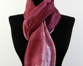 2 Tone Thai Raw Pure Silk Scarf 12 quot x62 quot Long Scarf Neck Scarf Handdyed Fair Trade in Pink Wine V40