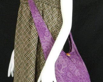 Paisley Sling Crossbody Bag Messenger Purse Hippie Hoho Small in Purple and 5 more color to Pick