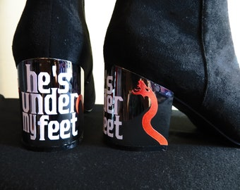 "Black ""he's under my feet"" Silver Heeled Booties - sizes 7, 8, & 10....Snake, devil, Satan, Biblebounding, Serpent"